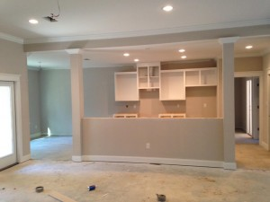 Family room toward the kitchen with lights